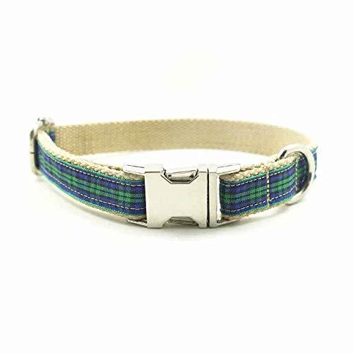 XBUTY Handmade selbst entworfener Hundehalsband, einzigartiges schottisches Plaid weiches und bequemes Nylon + Flanellstoffhalsband für kleine/mittlere Hunde, Größe S/M / L/XL 4