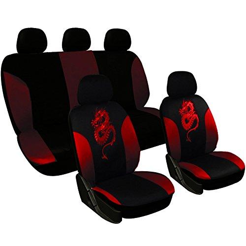 WOLTU AS7213 Universal Sitzbezüge für Auto Sitzbezug Schonbezüge Autoauflage Schoner, Drache Stickerei, schwarz-rot