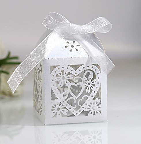 50 cajitas portapeladillas para boda nacaradas de color blanco, caja de regalo de boda con cinta.