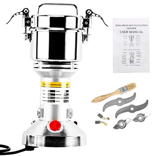 Homend High Speed 350g Electric Grain Mill Grinder Powder Machine Spice Herb Grinder 1500W 70-300 Mesh 28000RPM Stainless Steel Commercial Grade for Kitchen Herb Spice Pepper Coffee (350g)