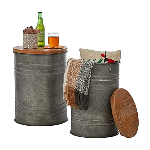 glitzhome Rustic Storage Ottoman Seat Stool  Farmhouse End Table  Galvanized Metal Accent Side Table Toy Box Bin with Round Wood Lid for Living Room Furniture  Nesting Pieces Two  Grey