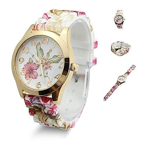 Uteruik Damen-Armbanduhr, Silikon, bedruckte Blume, legeres Quarzwerk #E