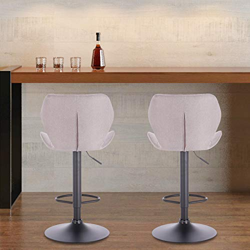 eSituro SBST0370-2 2 x Barhocker Küchenstuhl Barstuhl, höhenverstellbar & 360° drehbar, 2er Set Bar Hocker aus hochwertigem Leinen, Hellgrau - 6