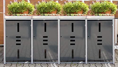 *Mülltonnenbox Metall für 4 Mülltonnen mit Pflanzwanne anthrazit*