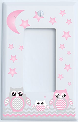 Grey and Pink Owl Light Switch Plate Rocker Covers / Owl Nursery Decor (Single Rocker Switch Plate)