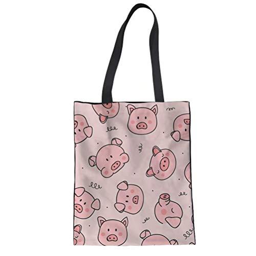 HUGS IDEA Leinen-Einkaufstasche mit Blumen-Hunde-Aufdruck für Damen, Pink - Schwein Cartoon Pink - Größe: Medium