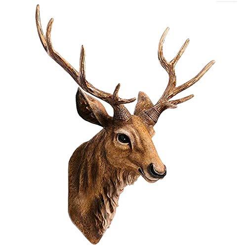 Sculture a Parete Simulazione Testa di Cervo Scultura in Resina, Decorazione Creativa da Appendere a Parete con Corna di Cervo, Ottima Famiglia di Amici (Size : Small)