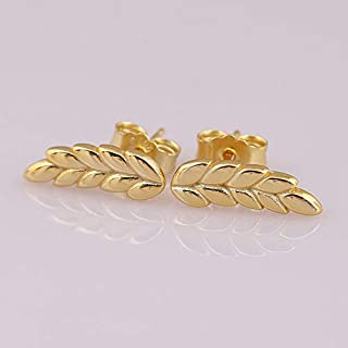 Authentic 925 Sterling Silver Earring Golden Curved Grains Ear of Wheat Studs Earring for Women Wedding Gift DIY Jewelry