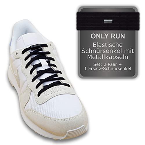 ONLY RUN 2 Paar Hochwertige Elastische Schnürsenkel ohne Binden mit Metallkapseln perfekt für Kinder, Erwachsene und Senioren - 100cm lang, 5mm breit - Schuhbänder ideal für Sneakers