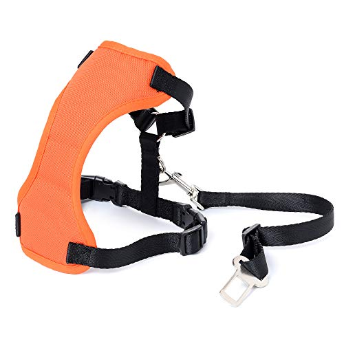 Mile High Life | Car Dog Harness Plus Connector Strap | Dog Seat Belt | Double Breathable Mesh Fabric with Car Vehicle Safety Seat Belt(Orange, M (Chest:16