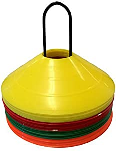 HCE Agility Training Disc Cones 40pcs - Set of 40 Disc Markers with Caddy Stand & Carry Bag - Soccer Cones, Rugby, Football High Visibility Field Boundary Markers for Adult & Kids Exercise Sports Games from China