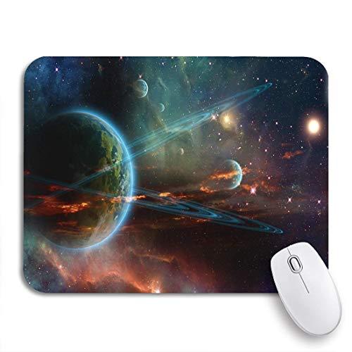 GLONLY Planeta Anillo Gemelo Astrología Espacial Gigante Nebulosa del Espacio Exterior Astronomía,Alfombrilla Raton Alfombrilla Gaming Alfombrilla para computadora