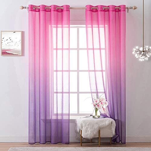 MIULEE Rainbow Sheer Curtains 90 Inches Long for Girls Bedroom, Pink Purple Voile for Toddlers Playroom, Grommet Top Voile, Sliding Glass Door Blinds, Ombre Lavender, 2 Panels Set (54 X 90 Inches )
