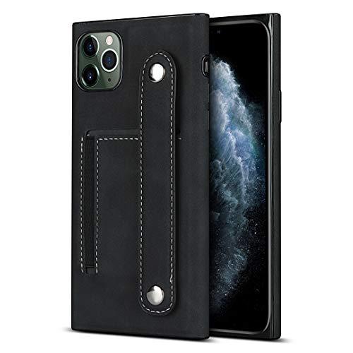 Schutzhülle für iPhone 11 Pro Max (6,5 Zoll), PU-Kunstleder, mit Handgelenk-Halterung, Schwarz