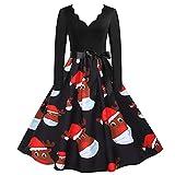 Wave166 Vestido de Navidad para mujer, elegante, con estampado navideño, falda acampanada, sexy, cuello en V, falda plisada con cremallera en la parte trasera, rojo, M