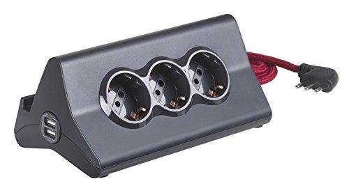 BTicino S3713GBU Multipresa da Scrivania con Spina 10 A, 3 P30, 2 Prese USB, Interruttore, 2 m, Nero
