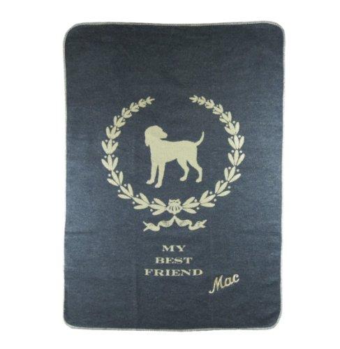 David Fussenegger Hundedecke mit Ihrem Wunsch Namen bestickt 100 x 140 cm, my best friend, anthrazit