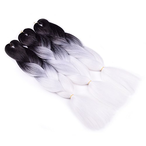 Ombre Braiding Hair (Black/White) 3 Pack Ombre Synthetic Braiding Hair Extension For Box Braids Senegal Twist Soft Fluffy High Temperature Fiber