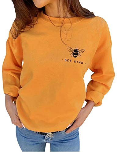 Bee Kind Printed Cute Bee Graphic Sweatshirts Women Funny Blessed Inspirational Fall Long Sleeve Pullover Tops Yellow