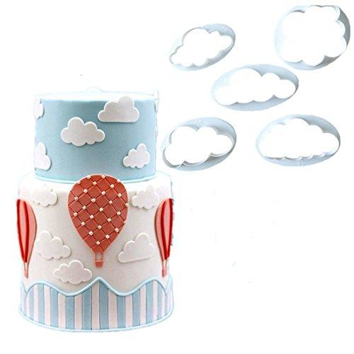 Affe 5pcs blanco nube decoración de pasteles molde cortador de galletas para hornear herramientas Sugarcraft repostería herramientas accesorios de cocina