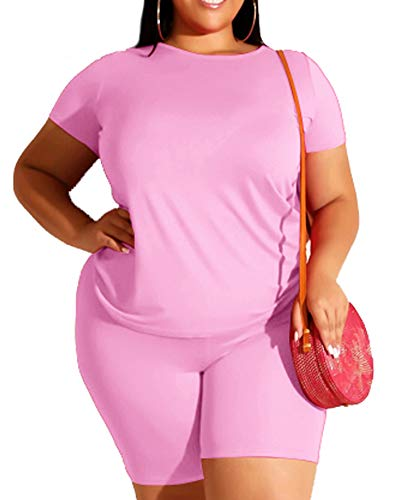 Pink Plus Size Short Sets Summer 2 Piece Outfit Tracksuit Short Sleeve Tshirt Bodycon Shorts Jogger Set Rompers Sportswear 2X