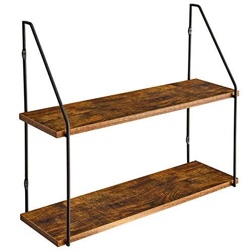 IBUYKE Wandregal 60x20.5x53 cm, Industrie-Design, Schweberegal 2 Etagen aus Holz und Metall, dekorative Regale, für Schlafzimmer, Wohnzimmer, Küche und Flur RF-TM011