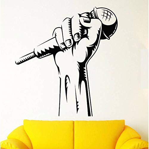 FOMBV Muursticker Muursticker Microfoon Hand Muursticker Club Decor Rap Battle Singer Muurschildering Muziek Behang