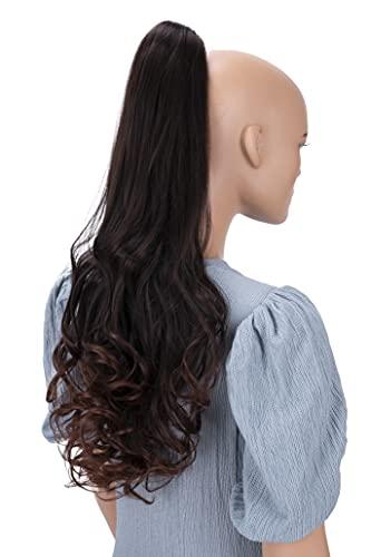 PRETTYSHOP 60cm Postiche Natte Queue De Cheval Extensions De Cheveux Volumineux Ondulé Mélange Brun H46