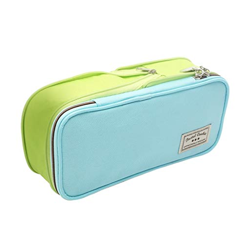 SFF Papelería La Caja de lápiz de Gran Capacidad Enrejado de la Caja de lápiz de Escritorio expansible Bolsa de Cremallera Doble Multicolor Dispensadores (Color : Blue Green)