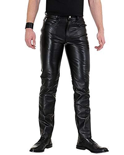 Bockle® Bopo Schwarze Herren Lederhose aus Rindleder mit hohem Bund, Size: W32/L34