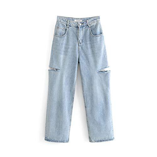 Pantalones de Mezclilla de Pierna Ancha de Moda Retro Streetwear para Mujer con Agujeros Jeans de Pierna Recta relajados y Desgastados de Cintura Alta S