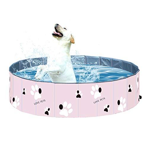 Tina de baño portátil al Aire Libre Rosa Plegable Plástico Duro PVC Baño Piscina Plegable para niños Bebé Mascotas Perros Gatos,120 * 30cm