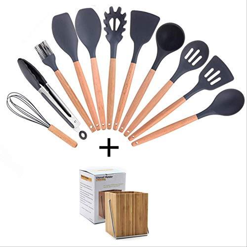 Utensilios de cocina 11PCS de Utensilios de cocina Conjunto de herramientas Conjunto de silicona con soporte Caja antiadherente espátula de madera Electrodomésticos Menaje de cocina Cooking 12Piece 1y