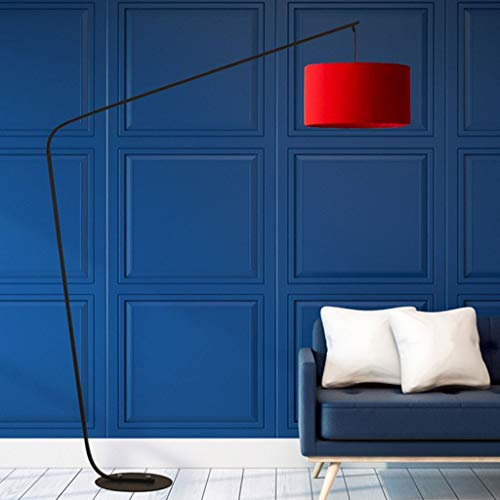 QTDH Moderne led-vloerlamp voor vissen, met draadloze boogafstandsbediening, klassieke vloerlamp met hanglamp, sofabak, voor woonkamer, 12 W dimbaar