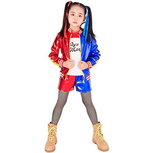 Mr.LQ Disfraz De Cosplay De Harley Quinn De Suicide Squad para Niños Y Adultos, Abrigo, Camiseta, Pantalones Cortos, Guantes, Conjunto De Accesorios