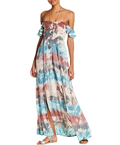Tiare Hawaii - Hollie Off-The-Shoulder Maxi Dress | Flowy Floral Vintage | Spring & Summer Collection | Strapless Cocktail Prom Maxi with 100% Rayon.
