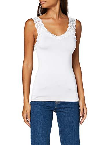 PIECES Pcbarbera Lace Top Noos Camiseta sin Mangas, Blanco Brillante, XL para Mujer