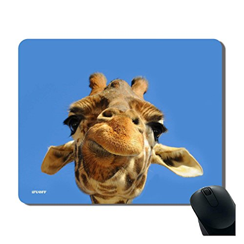 Mousepad, Blue Giraffe Face Cute Fashion Design Non Slip Rubber Gaming Oblong Mouse Pad Mat with Design by iFUOFF