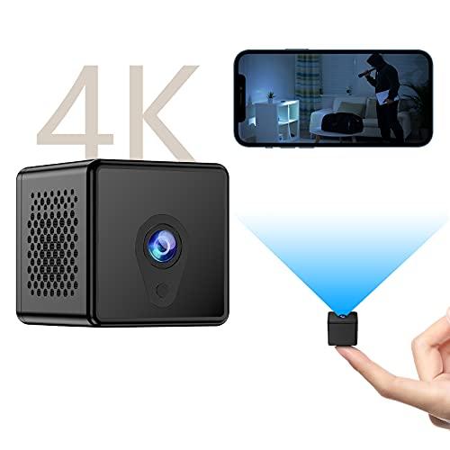 Mini Kamera, 4K Ultra HD WLAN Mini Kamera mit Bewegungserkennung, Nachtsicht Kamera Lange Batterielaufzeit und Unterstützt Remote Aufwachen, Kleine Sicherheitskamera für Innen Aussen