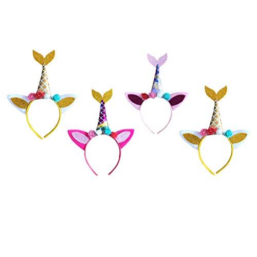 4 unids diadema de sirena de unicornio, diadema para el pelo, accesorios para el pelo, para fiestas de baile de mscaras, regalos de fiesta de cumpleaos