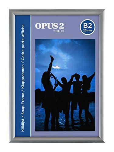OPUS 2 Klapprahmen B2 mit 25 mm Aluminium-Profil - aufklappbarer Plakatrahmen mit Gehrungsecke - Schnapprahmen für u.a. Poster, Zertifikate, Fotos & Werbemittel - Silber
