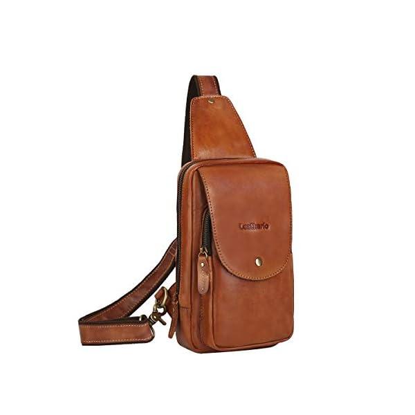 415Si3Ywz8L. SS600  - Leathario Bolso Pecho Hombro Bandolera Cruzado Cuero Guenino Vintage de Trabajo para Hombres Mochila Pecho Piel Grande para Viaje Crossbody Sling Bag