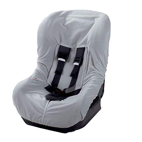 Babysanity® Morbido Copri Seggiolino Auto Universale 0/18 In Doppia Spugna Di Cotone 100% Copri Seduta Lavabile Con Passaggio Cinghie -Made In Italy- (Grigio)