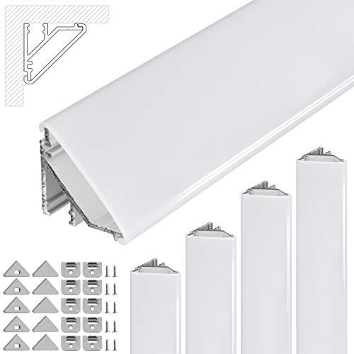 Profilo angolare a LED V24, set da 5 x 100 cm, profilo in alluminio a 45 gradi per strisce LED