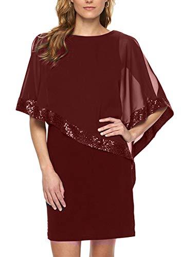 YMING Femme Elégante Robe Mousseline Blouse Robe de Soirée Robe de Feté Bordeaux XS/FR 34