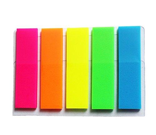 DUOFIRE 可愛い 付箋 透明スリム見出し 12*45mm  1パックあたり: 5色x25枚×5冊 蛍光 半透明