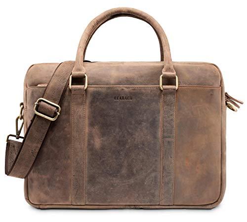 LEABAGS Istanbul Leder-Umhängetasche I Laptoptasche 15 Zoll I Messenger Bag aus echtem Büffel-Leder I Aktentasche I Vintage Ledertasche I Bürotasche I Arbeitstasche I 40x31x12cm (Braun)