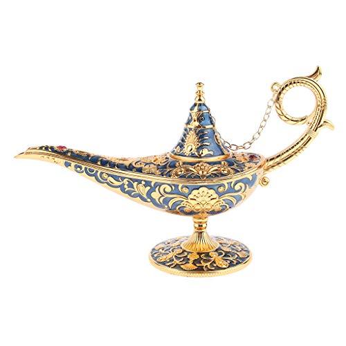 yotijar Lâmpada Aladim Vintage Decoração para Casa Coleção de Ornamentos de Arte Antiga Azul