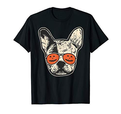 Frenchie in Pumpkin Sunglasses - French Bulldog Halloween T-Shirt