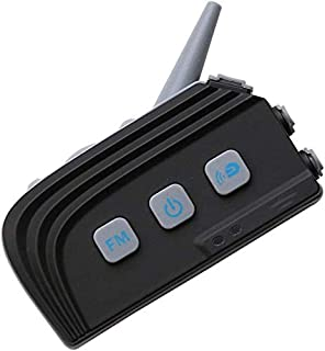 ZGYQGOO BT Dual Bluetooth 4.0 Intercom Casco de Motocicleta Casco Intercom Auricular 1.2 KM Comunicación Distancia Soporte 4 Personas Conexión Manos Libres y Radio FM Negro